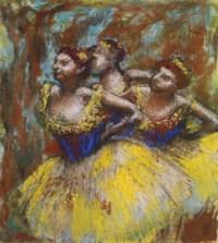 Trois danseuses (Jupes jaunes, corsages bleus)